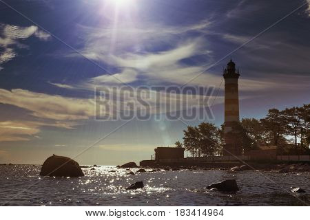 Sunshine over a Lighthouse. St. Petersburg. Gulf of Finland