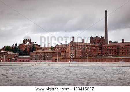 St.Petersburg Russia. Historical prison Crosses (19th century) and Neva River