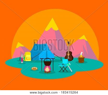 Colorful flat camping concept with backpacking and hiking equipment on orange mountain background vector illustration