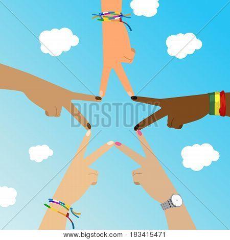 Multiracial hands make star sign over sky. Vector illustration