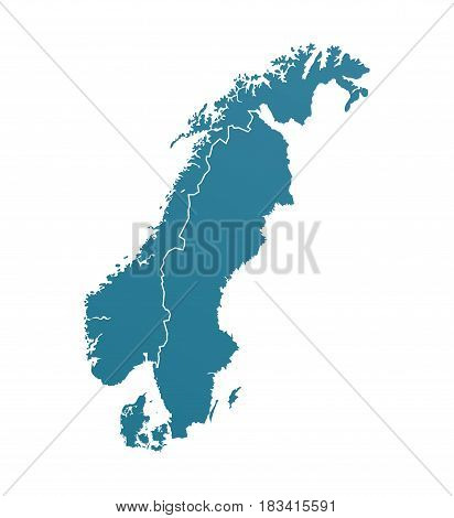 Vector Illustration with Silhouette of Scandinavia Vector Illustration with Borders of Northern European Countries.