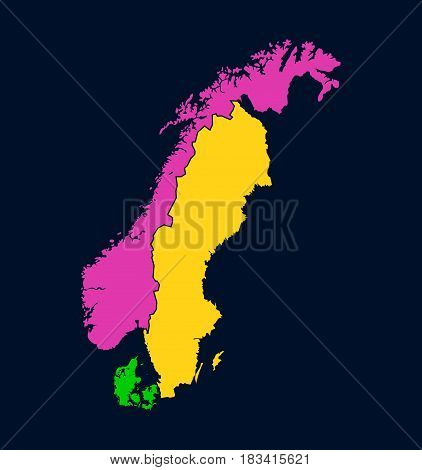 Silhouette of Scandinavia on Map Colorful Vector Illustration with Borders of Northern European Countries.
