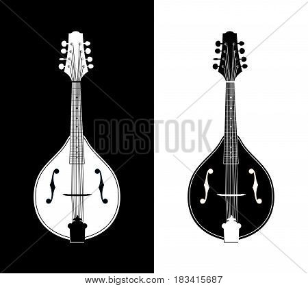 Set of Icons Flat Detailed Vector Illustration of Mandolins - Western Folk String Musical Instrument.