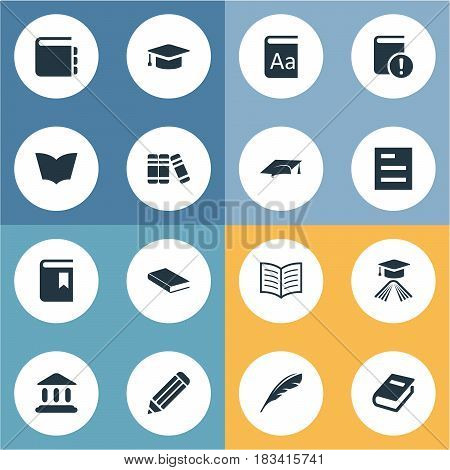 Vector Illustration Set Of Simple Reading Icons. Elements Academic Cap, Journal, Book Cover And Other Synonyms Reading, Building And Pencil.