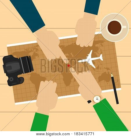 Two men planning vacation trip with a map. Camera, airplane model, cup of coffee, pen on table