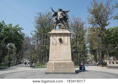 Mexico city, circa february 2017: Monument to Ludwig van Beethoven