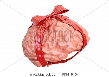 Human Brain with red bow and ribbon gift concept. 3D rendering isolated on white background