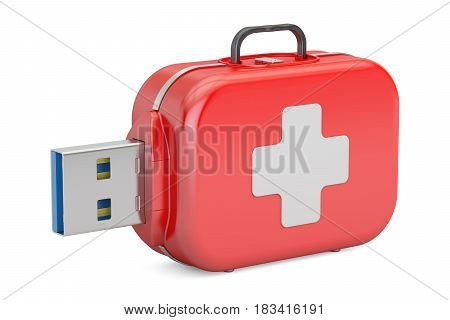 USB flash drive service recovery and first aid concept. 3D rendering isolated on white background