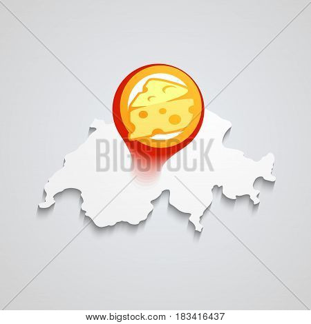 Creative Design of Logo for Market with Swiss Cheese Premium Quality Vector Illustration.