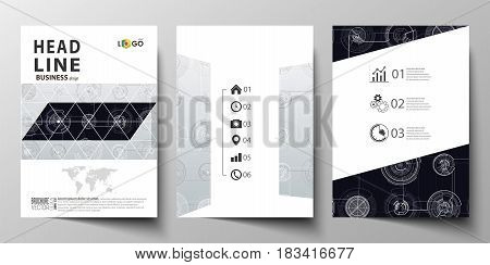 Business templates for brochure, magazine, flyer, booklet or annual report. Cover template, layout in A4 size. High tech design, connecting system. Science and technology concept. Futuristic abstract vector background.
