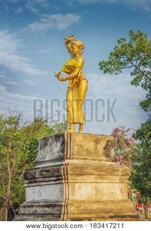 A Sculpture Of Dancing Girl. Thailand
