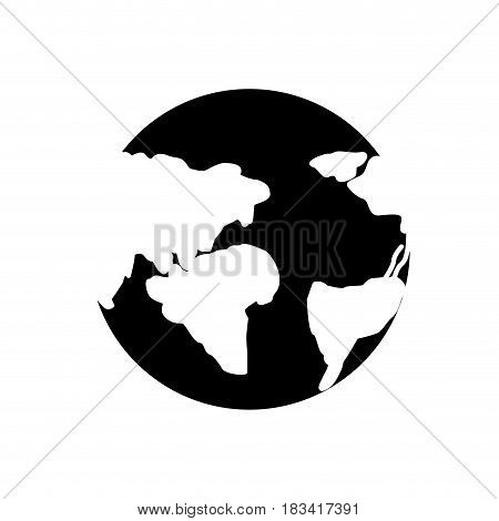 silhouette earth planet with global geographys continents, vector illustration