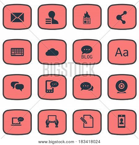 Vector Illustration Set Of Simple Newspaper Icons. Elements Site, Share, Keypad And Other Synonyms Profit, Broadcast And Profile.