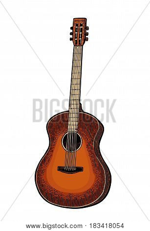 Acoustic guitar. Vintage vector color engraving illustration for poster, web. Isolated on white background.