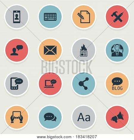 Vector Illustration Set Of Simple User Icons. Elements Laptop, Repair, Argument And Other Synonyms Repair, Hot And Forum.