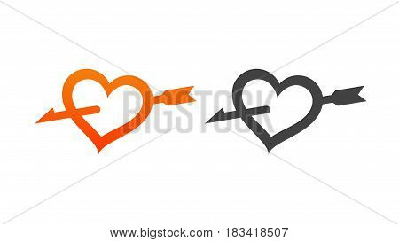 Set of Style Icon Heart Pierced by Arrow Vector Illustrations to Valentine's Day in Orange and Black color.