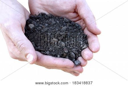 Concept Of Fertility And Ecology. Close Up Of Hands Holding Brown Soil Over White Background