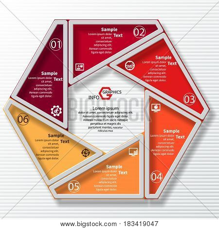 vector abstract 3d paper infographic elements.Circular infographics.6 steps.Red