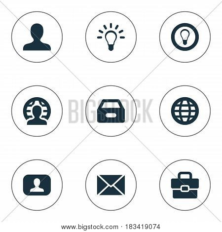 Vector Illustration Set Of Simple Business Icons. Elements Bulb, Suitcase, World And Other Synonyms Member, Interlocutor And User.