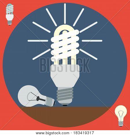 Electric light bulbs flat design style vector illustration