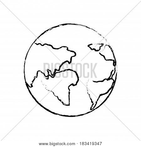 figure earth planet with global geographys continents, vector illustration