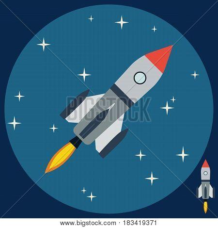 Cartoon rocket on night sky backgroud flat design style vector illustration