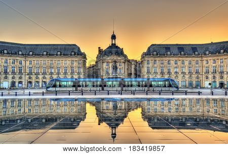 Place de la Bourse reflecting from the water mirror in Bordeaux - France, Gironde poster