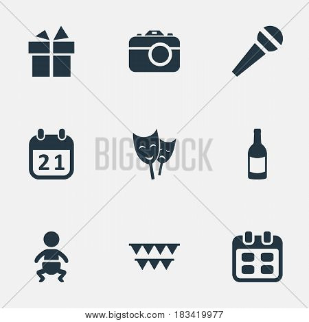 Vector Illustration Set Of Simple Birthday Icons. Elements Camera, Infant, Special Day And Other Synonyms Kid, Photo And Schedule.