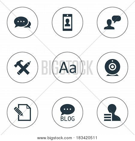Vector Illustration Set Of Simple User Icons. Elements Man Considering, Repair, Site And Other Synonyms Blog, Site And Writing.