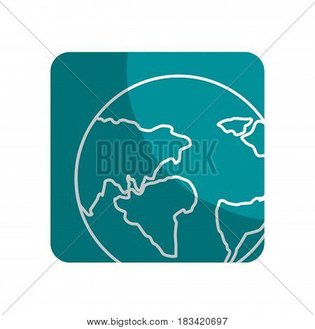 logotype earth planet with global geographys continents, vector illustration