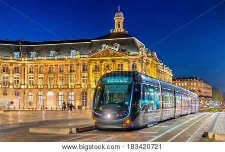 Tram on Place de la Bourse in Bordeaux - France, Gironde