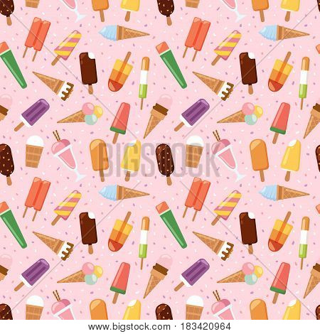 Sweet cartoon cold ice cream seamless pattern. Tasty cartoon frozen icecream vector delicious background. Fruit colorful ice-cream dessert. Milk icecream vector illustration