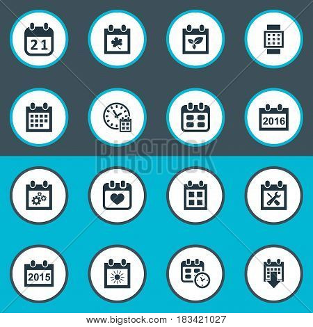 Vector Illustration Set Of Simple Calendar Icons. Elements Event, Almanac, Deadline And Other Synonyms Reminder, Annual And Autumn.
