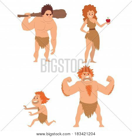 Caveman primitive stone age cartoon neanderthal people action character evolution vector illustration. prehistoric muscular warrior anthropology homo evolution family.