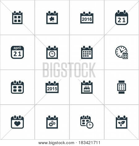Vector Illustration Set Of Simple Date Icons. Elements Agenda, Special Day, Planner And Other Synonyms Watch, Data And Hour.