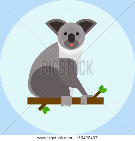 Young koala sitting on tree branch australia bear cute mammal peaceful relaxation nature marsupial vector illustration. Grey perching australian arboreal wildlife character.