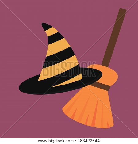 Cartoon halloween witch hat antasy scary witchcraft traditional costume magic object vector illustration. Wizard black cap holiday party spooky wear magical fabric decoration.