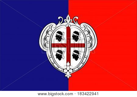 Flag of Cagliari is an Italian municipality and the capital of the island of Sardinia an autonomous region of Italy. 3d illustration