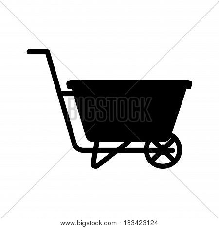 wheelbarrow icon over white background. gardening equipment concept. vector illustration