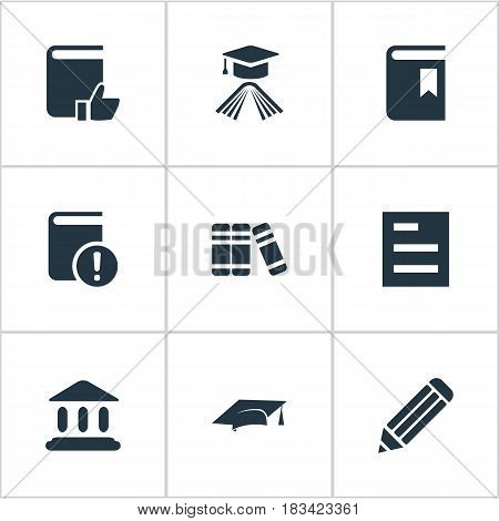 Vector Illustration Set Of Simple Education Icons. Elements Recommended Reading, Important Reading, Bookshelf And Other Synonyms Academy, Bookmark And Building.
