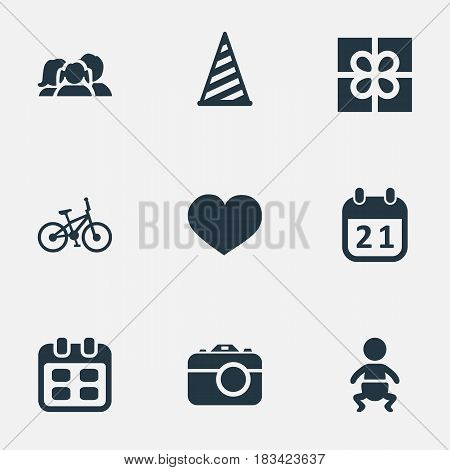 Vector Illustration Set Of Simple Holiday Icons. Elements Domestic, Soul, Days And Other Synonyms Present, Infant And Feelings.