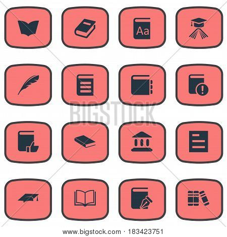 Vector Illustration Set Of Simple Education Icons. Elements Notebook, Plume, Blank Notebook And Other Synonyms Alphabet, Reading And Building.