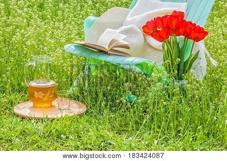 Relax in blossoming garden with a book on a sunny spring day on a green lawn