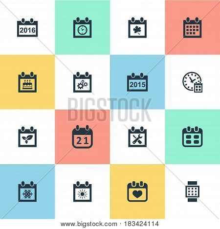Vector Illustration Set Of Simple Plan Icons. Elements Snowflake, Event, Almanac And Other Synonyms Agenda, Clock And Calendar.