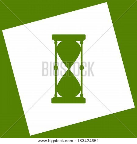 Hourglass sign illustration. Vector. White icon obtained as a result of subtraction rotated square and path. Avocado background.