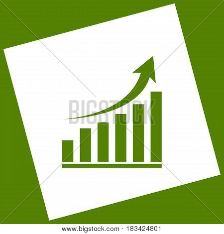 Growing graph sign. Vector. White icon obtained as a result of subtraction rotated square and path. Avocado background.