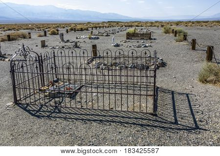 Old Cemetery Of Ghost Towm Ballarat Near The Death Valley