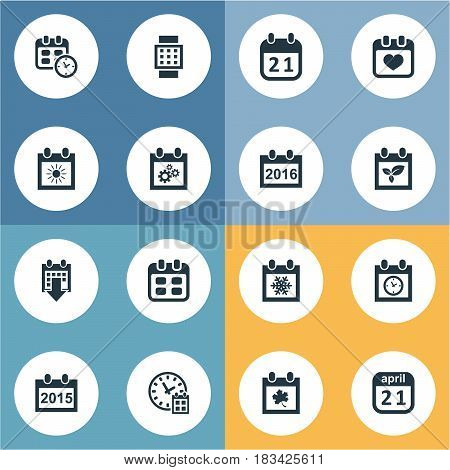 Vector Illustration Set Of Simple Time Icons. Elements Agenda, Event, Annual And Other Synonyms Plant, Spring And Autumn.