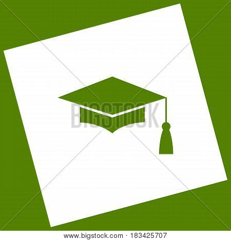 Mortar Board or Graduation Cap, Education symbol. Vector. White icon obtained as a result of subtraction rotated square and path. Avocado background.