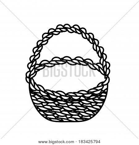 line beautiful hamper to save food celebration, vector illustration